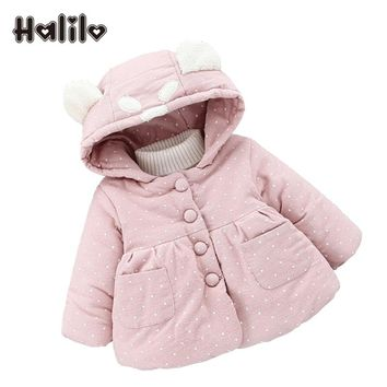 Halilo Baby Girl Winter Coat Hooded Girls Parkas Cotton Thicken Warm Girls Outerwear Baby Girl Clothes Kids Coats And Jackets