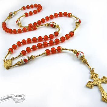 Orange rosary gold rosaries confirmation rosary catholic gift communion rosary traditional rosaries christening gift floral rosary golden