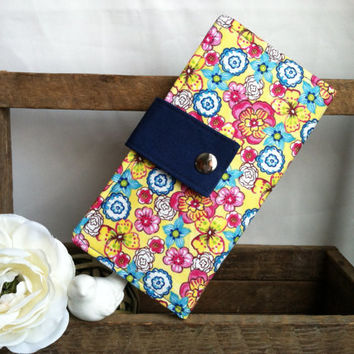 Womens handmade wallet, bifold wallet in birght floral print, navy contrast, credit card wallet, bill slots, coin pouch