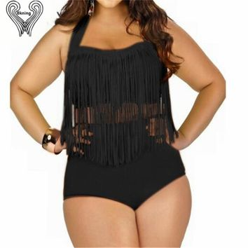 Plus Size Fringed Bikini Set Underwiere Push Up Swimwear Women High Waisted Bath Suit Swimming Pool Wear saida de praia H262