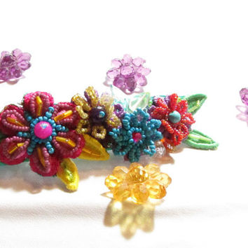 Adult Barrettes,Handmade Womens Hair Accessories,Floral Hair Accessory,Beaded Barrette,Boho Barrette ,Hair Jewelry,beaded floral barrette,