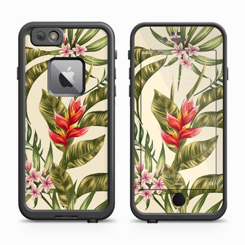 Vintage Light Jungle Greenery with Red Blooms Skin for the Apple iPhone LifeProof Fre Case