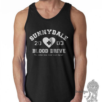 Sunnydale Blood Drive the stakes have never been higher print on Male tank (Gildan Tank G220)