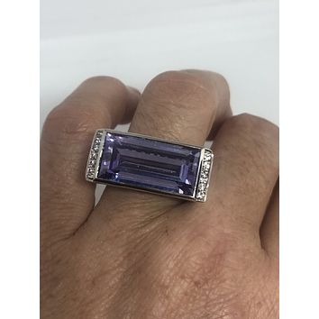 Vintage purple Amethyst Crystal Ring 925 Sterling Silver gothic SIze 8