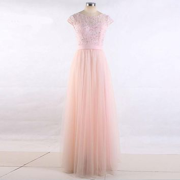 Cap sleeve Lace Tulle Floor length Bridesmaid Dresses Long