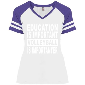 EDUCATION-IMPORTANT-VOLLEYBALL DM476 Disctrict Ladies' Game V-Neck T-Shirt