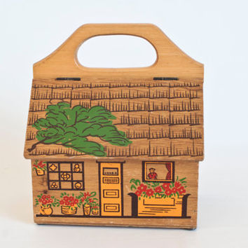 Vintage Gary Gail Dallas Wooden House Shaped Purse, Wood Box Bag with Handle Japan, Enid Collins Inspired