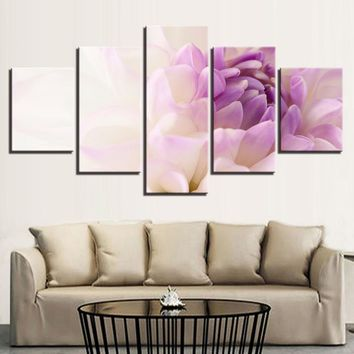 Beautiful White Purple Flowers Canvas  Wall Art Print on Canvas Framed Unframed