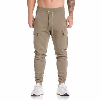 2017 Autumn New Fitness Sweatpants Men Solid Workout Bodybuilding Clothing Casual GYMS Fitness Joggers Pants Skinny Trousers