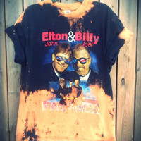 Bleached, tie dyed unisex Elton John Billy Joel Face 2 Face shirt size large ...one of a kind t shirt