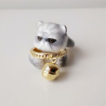 Mary Lou Enamel Grey Persian Cat with Bell Ring Set Free Shipping