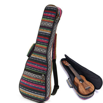 New Arrival Beautiful Soft Pad Cotton Folk Style Hand Portable Bag Case Cover For Ukulele 21''/23''/26'' Small Guitar Gig Bag