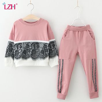 LZH Children Clothing 2018 Autumn Winter Girls Clothes T-shirt+Pant 2pcs Kids Tracksuit Girls Sport Suit For Girls Clothing Sets