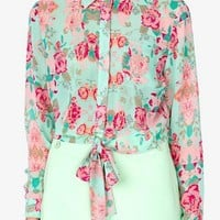 Floral Print Self-Tie Shirt | FOREVER 21 - 2021201537