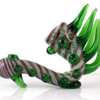 DISCOUNTED Heady Glass Sea Dragon Sherlock Free Standing Smoking Pipe Functional Art Piece w/ Slight Defect