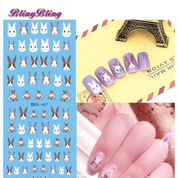 Blingbling 2pcs Rabbit Pattern Nail Water Decal Kawaii Bunny Nail Art Animal Transfer Sticker Manicure Decoration