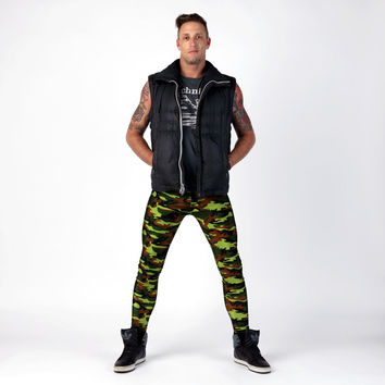 Green Camouflage Meggings Men's Leggings
