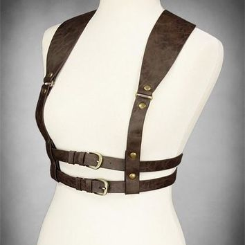 Steampunk Underbust harness Brown WIDE STRAPS BELT