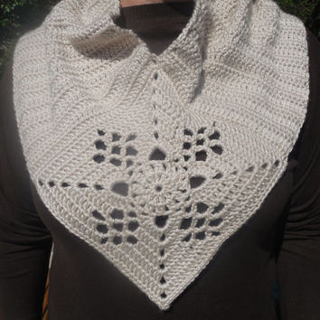 Unique Off White Circle Scarf ,Cowl, Shawl with center lace inspired granny square accent
