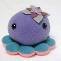 Octopus plush animal with flower