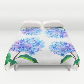 blue purple hydrangea Duvet Cover by Color And Color