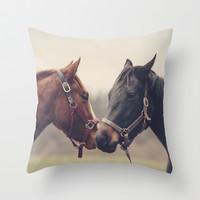 Horses Throw Pillow by Laura Ruth