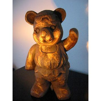 Folk Art Modernist Hand Carved Ballerina Teddy Bear Wood Sculpture