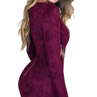 Lace Up Hollow Out Sexy Suede Bodycon Dress