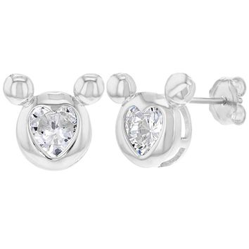 925 Sterling Silver Clear CZ Stud Heart Mouse Earrings for Girls Teens