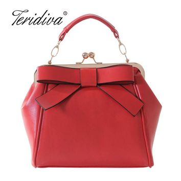 Teridiva Women Red and Black Shoulder Bags Vintage Bow Messenger Bag Shoulder Handbag Metal Frame Bag Women Tote Bag Bolsos