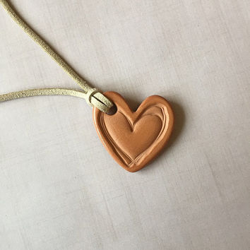 Heart Terracotta Diffuser Necklace - Essential Oils - Faux Suede, Satin Cord - unglazed Terra Cotta Clay Pendant Love Mother's Day gift