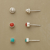 RED, WHITE & TURQUOISE EARRING TRIO