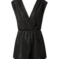 Black Shimmer Textured Playsuit