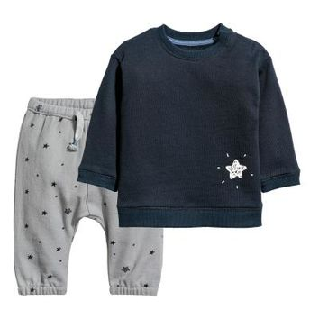 Cotton Sweatshirt and Pants - Dark blue/Grey - Kids | H&M US