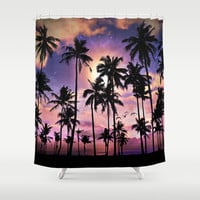 Smell the Sea Feel the Sky (Palm Tree Sunset) Shower Curtain by Soaring Anchor Designs