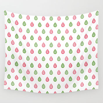 Pink and green raindrops Wall Tapestry by Savousepate