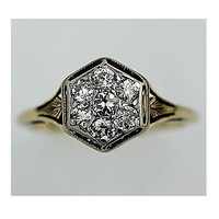Antique 14 kt White and Yellow Gold Two Tone Old Miner Cut Diamond Cluster Engagement Ring Circa Early 1900's