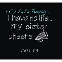 Cheer Sister iron on Rhinestone Transfer - hot fix bling transfer - DIY motif appliqué design for t-shirts