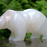 Hand carved natural Alabaster free standing Polar Bear sculpture original stone art