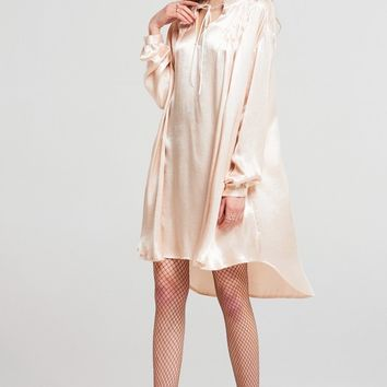 Elly Gathered Satin Dress Discover the latest fashion trends online at storets.com