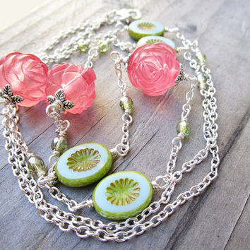 Romantic Pink Rose & Teal and Green Czech Glass Long Beaded Silver Necklace