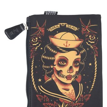 Dark Seas Sailor skull lady tattoo Purse Cosmetic Bag