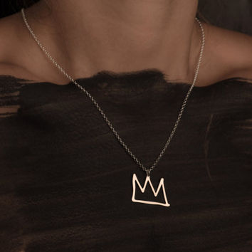 Silver Crown Gold Filled And Silver Necklace King Crown Pendant Sketch Fashion Design Art Jewellery King Basquiat Prince Stylish Minimalist