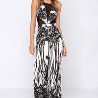 Black And White Mesh Patterned Wide Leg Jumpsuit