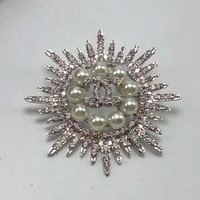 Chanel Women Fashion CC Logo Rhinestone Pearl Brooch