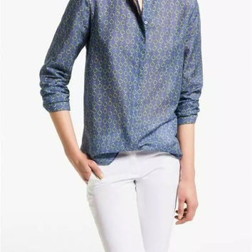 Blue Chain Print Mandarin Collar Long-Sleeve Button Shirt