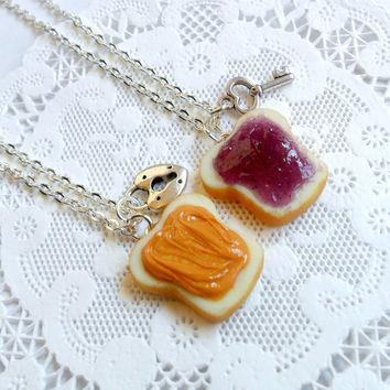 Peanut Butter Jelly Lock & Key Necklace Set, BFF, Sterling Silver Chains