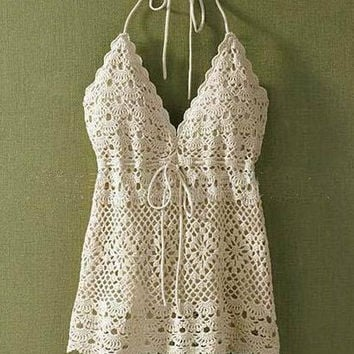 2016 New Limited Handmade Lace Losse Blouse Knitting Crochet Tank Top  Vest for Womens Summer Gift-61