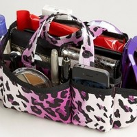 """2-6 Day Delivery- Available in 3 Colors! Lexie Handbag Bag Purse Travel Cosmetic Make-Up Tote Organizer Insert Dimensions: 9""""L x 4""""H x 4""""W (Purple Leopard)"""