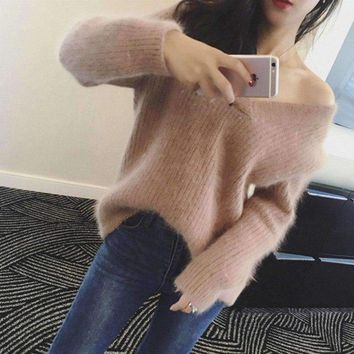 Womens long-hair mink cashmere sweet V-neck pullover loose cute Knitted sweaters